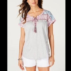 STYLE&CO LACE UP PEASANT TOP